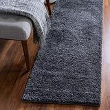 Rugs.com Soft Solid Shag Collection Runner Rug – 13 Ft Runner Smoke Gray Shag Rug Perfect for Hallways, Entryways