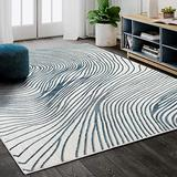 Abani Rugs Contemporary Wave Print 4' x 6' Rectangle Area Rug, Vista Collection - Modern Blue & White Turkish Accent Rug