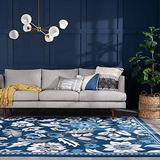 Salma Dark Blue 8x10 Rectangle Area Rug for Living, Bedroom, or Dining Room - Traditional, Floral