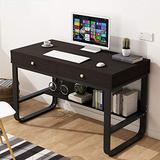 Computer Desk for Small Space - Home Office Desk Study Writing Desk, Laptop Notebook PC Workstation with 2 Drawers, Modern Study Makeup Vanity Table (Black)