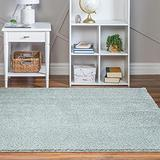 Rugs.com Soft Solid Shag Collection Runner Rug – 8 Ft Square Sage Green Shag Rug Perfect for Hallways, Entryways