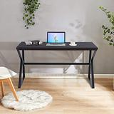 Home Study Writing Desk 55 inch - Large Industrial Modern Metal and Wood Table for Home Office Bedroom, Modern K-Shaped Legs Gaming Computer Desk