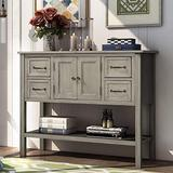 SSLine Console Table Sofa Table Sideboard Storage Cabinet,43 Inches Modern Buffet Table Sideboard with 4 Drawers,1 Cabinet and 1 Shelf for Living Room Kitchen Dining Room (Grey)