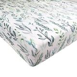 DILIMI Crib Sheet Fitted Crib Sheets for Baby Boys Girls, Ultra-Soft Cotton Blend Baby Sheet Fits Standard Crib and Toddler Mattress, Green Leaf