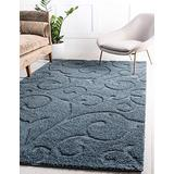 Rugs.com Botanical Shag Collection Rug – 9' x 12' Blue Shag Rug Perfect for Living Rooms, Large Dining Rooms, Open Floorplans