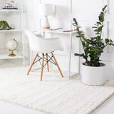 Rugs.com Soft Solid Shag Collection Area Rug – 8x10 White Shag Rug Perfect for Living Rooms, Large Dining Rooms, Open Floorplans