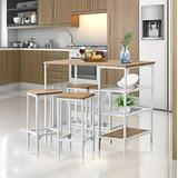 Cenoteer 5 Piece Counter Height Dining Table Set, Industrial Style Bar Pub Table with 4 Backless Bar stools for Home, Wooden Bar Height Dining Table & Bar Stools, Kitchen Dining Table Set for Dining