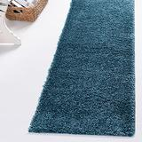 Rugs.com Soft Solid Shag Collection Runner Rug – 10 Ft Runner Turquoise Shag Rug Perfect for Hallways, Entryways