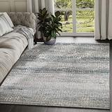 Abani Rugs Modern Distressed Pixel Print 3' x 5' Rectangle Area Rug, Vista Collection - Grey & Blue Rustic Contemporary Turkish Accent Rug