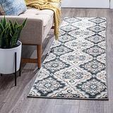 Peoria Gray 2x10 Runner Area Rug for Hallway, Walkway, Entryway, or Foyer - Traditional, Floral