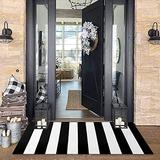 Black and White Striped Rug 2' x 4.3' Farmhouse Rug Hallway Runner Checkered Washable Indoor Outdoor Rug Runner for Kitchen/Laundry/Bathroom/Bedroom