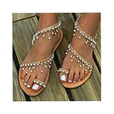 TIFALEX Women's Bohemian Beaded Flat Sandals,ComfortableSummer Beach Shoes,Open Toe Elastic Slip-on Dress Shoes,BEACH WOMEN SHOES,Rhinestone Flat Sandals,Dress Beach Shoes (7)