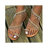 TIFALEX Women's Bohemian Beaded Flat Sandals,ComfortableSummer Beach Shoes,Open Toe Elastic Slip-on Dress Shoes,BEACH WOMEN SHOES,Rhinestone Flat Sandals,Dress Beach Shoes (9)