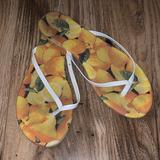 Nine West Shoes   Nine West Lemon Print Flip Flop Sandals   Color: White/Yellow   Size: 9