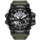Koodea 1617 S Shock Military Watches Army Men's Wristwatch LED Quartz Watch Digtial Dual Time Men Clock reloj Hombre Sport Watch Army (Green)