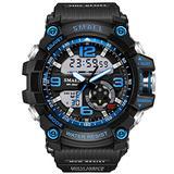 Koodea 1617 S Shock Military Watches Army Men's Wristwatch LED Quartz Watch Digtial Dual Time Men Clock reloj Hombre Sport Watch Army (Blue)