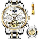 Mechanical Watch Automatic Watch Men's Automatic Winding Men's Watch Luxury Waterproof Stainless Steel White Dial Watches for Men Automatic (White&Between Gold)