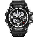 Koodea 1617 S Shock Military Watches Army Men's Wristwatch LED Quartz Watch Digtial Dual Time Men Clock reloj Hombre Sport Watch Army Silver)