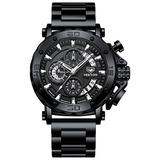 Military Watches for Men Large Face Army Watch Workout Waterproof Stainless Steel Big Dial Tactical Watch Multi-Function Sports Quartz Wrist Watches with Stopwatch Date Black Dial