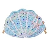 Felice Ann Women Girls Mini Glitter Rhinestone Starfish Pearl Yarn Crochet Seashell Cross-body Bag Shoulder Bag with Chain Strap Clutch Purse