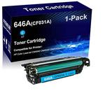 1-Pack (Cyan) Compatible Laser Toner Cartridge High Yield Replacement for HP 646A | CF031A | Laser Printer Toner Cartridge use for HP Laserjet CM4540 CM4540f CM4540fskm Printer
