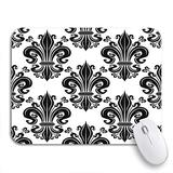 Gaming Mouse Pad Black Fleur De Lis Ornate of Victorian Leaf Scrolls Nonslip Rubber Backing Mousepad for Notebooks Computers Mouse Mats