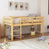 Twin Wood Loft Bed, Low Loft Bed for Kids with Ladder and Guard Rail. (Natural)