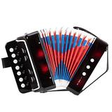 Aveland time 7-Key 2 Bass Kids Accordion Children's Mini Musical Instrument Easy to Learn Music Black Home