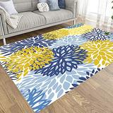 Jesmacti Abstract Area Rug Colorful Area Rug Cotton Area Rug Spring Floral Pattern Blue Yellow Navy Chrysanthemum Flowers Background Thick Area Rug Area Rug Runner Pool Area Rug 3X5 Area Rug
