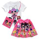 Girls T-Shirt Skirt Set Short Sleeve Carton Print Infant Outfits Doll Surprised (Rose, 120(6-7y))