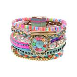 Don't AsK Women's Bracelets Multi - Pink & Green Multicolored Beaded Layered Bracelet