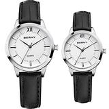 BERNY Watches for Men and Women, Classic Simple Business Analogue Quartz Watches, Black Leather Strap- White Dial