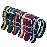 Military Nylon Strap 6 Packs 20mm Watch Band Nylon Replacement Watch Straps for Men Women (Blue/White/Red+Black/Blue+Black/White+Black/Orange+Blue/Yellow+Blue/Red)