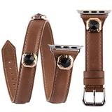 VIQIV Multi Wrap Leather Bracelets Compatible with Apple Watch 42mm 44mm iwatch SE Series 6 5 4 3 2 1 for Women Girls, Bling Studs Cuff Jewelry Fancy Smartwatch Wristband Strap Accessories, Brown