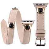 VIQIV Multi Wrap Leather Bracelets Compatible with Apple Watch 42mm 44mm iwatch SE Series 6 5 4 3 2 1 for Women Girls, Bling Studs Cuff Jewelry Fancy Smartwatch Wristband Strap Accessories, Beige