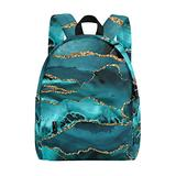 Teal Blue and Gold Unisex Lightweight Printed Bookbags School Backpacks for Students