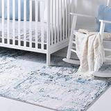 Rugs.Com Leipzig Collection Area Rug – 8X11 Blue Low-Pile Rug Perfect for Living Rooms, Large Dining Rooms, Open Floorplans