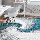 Rugs.com Soft Touch Shag Collection Area Rug – 8x11 Turquoise Shag Rug Perfect for Living Rooms, Large Dining Rooms, Open Floorplans