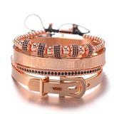 METBOM Gold Bracelets Royal Stacked Bracelet Set Roman Numerals Bracelet Set Friendship Luxury Jewelry for Men Women Adjustable,A Silver