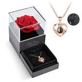 Mothers Day Flowers Gifts Set, Preserved Red Real Rose with I Love You Necklace -Enchanted Eternal Rose Flower for Mother's Day Valentine's Day Christmas Anniversary Birthday Romantic Gifts for Her