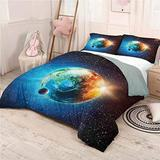 """Earth Bed Sheets Set California King, Bedding Set All Season Quilt Set Galaxy Space Stars Astral Easy Care - California King 104""""x98"""""""