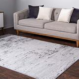 Rugs.Com Leipzig Collection Area Rug – 8X11 Grey Low-Pile Rug Perfect for Living Rooms, Large Dining Rooms, Open Floorplans