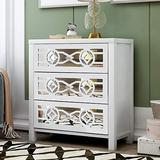 TITA-DONG 3 Drawer Dresser,Mirrored 3 Drawer Chest,Rustic White Wood Cabinet Accent Mirrored Nightstand Storage Cabinet Furniture for Bedroom,Living Room Storage (Fully Assembled)