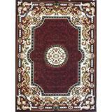 Champion Rugs Traditional Contemporary Burgundy Area Rug Design #CR138 (8 Feet x 10 Feet)