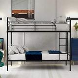 Metal Twin Over Twin Bunk Bed, Kids Bunk Bed with Headboard and Footboard, No Box Spring Needed, Metal & Upholstered