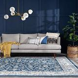Tessie Dark Blue 5x7 Rectangle Area Rug for Living, Bedroom, or Dining Room - Traditional, Floral