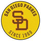 FANMATS MLB-San Diego Padres Collection Roundel Rug-27in (1969) Retro, 27in. Diameter, Yellow