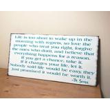 NOT BRANDED Life is Too Short to Wake up in The Morning with Regrets Sign Family Love Turquoise Aqua Teal Wood Christmas Bedroom Kids Birthday Gift