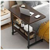 Coffee Table Height Adjustable Computer Laptop Desk, Movable PC Lift Work Table on Lockable Wheels,for Working Dining Studying (Color : Black Oak)
