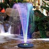 Vizor Solar Fountain Pump Fountain Pump Solar Fountain Bird Bath Fountain, Colorful Led Solar Fountain Pump, Full Coverage of Solar Panels, Ponds, Swimming Pools, Fish Tanks, Aquariums and
